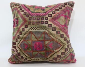 24x24 Multicolor Pink Kilim Pillow Throw Pillow 24x24 Geometric Kelim Kissen Home Decor Cushion Cover Chic Pillow SP6060-1319