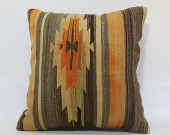 Anatolian Kilim Pillow Geometric Kilim Pillow 24x24 Turkish Kilim Pillow Sofa Pillow Ethnic Pillow Handwoven Kilim Pillow SP6060-1198