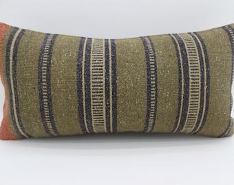 Black Striped Kilim Pillow 12x24 Green Kilim Pillow Throw Pillow 12x24 Lumbar Pillow Ethnic Pillow Bohemian Pillow Orange Pillow SP3060-1759