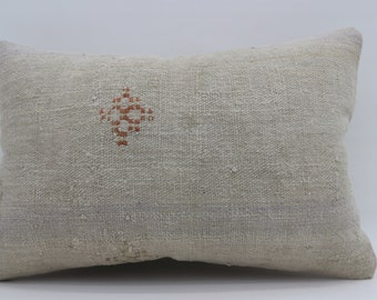 16x24 White Kilim Pillow Embroidered Pillow Turkish Decorative Kilim Pillow 16x24 Faded Pillow Boho Pillow Distressed Pillow SP4060-1359