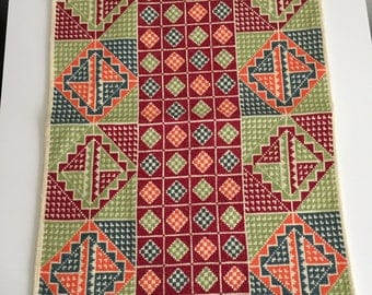 Hand made cross stitch table runner