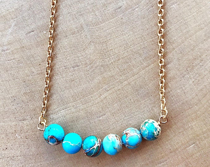 Aqua Terra Jasper Necklace, Healing Crystal Jewelry, Blue Gemstone Bead, Gold Pendant, Bohemian, Gifts For Her, Bridesmaid Gift, Cable Chain