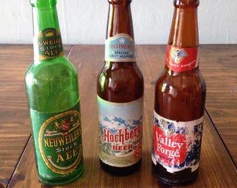 Retro MidCentury Beer Bottle Set of 3 Valley Forge Pennsylvania Vintage Local German Neuweilers Stock Hockburg Glass Green Amber Ale Prop
