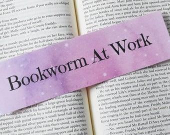 Bookworm At Work Pink Star Watercolour Bookmark