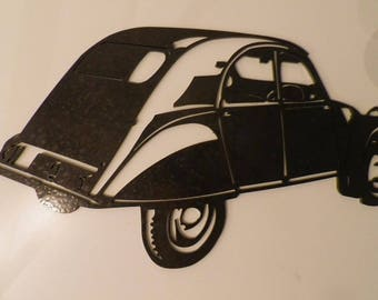 Plate teaches CITROEN 2CV AZ view rear painted steel effect finish hammered