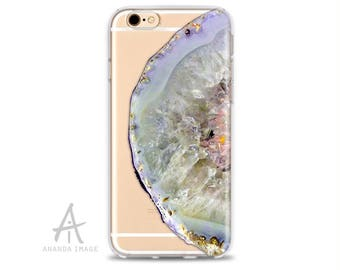 Quarz Agate iPhone 7/7+/SE/5/5S/4/4S/6/6S, Clear, Stone Galaxy S8/S7/S7 EDGE, 6/6S pluss, Galaxy S6/S6 Edge, Galaxy S5, Huawei P9,  T-227