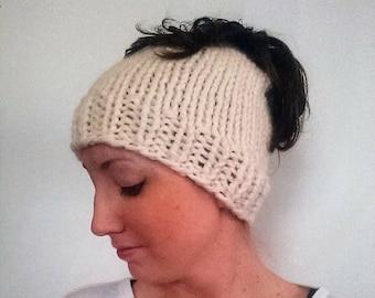 50% OFF SALE Knit Ponytail Hat, Knitted Bun Hat, Messy Bun Hat, Chunky Knit Hat, Harlan Bun Hat Fisherman