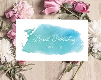 Teal Blue Watercolor Wedding Place Card Printable Template, Flat Place Card, Folded Place Cards, Instant Download, Calligraphy, ISP066
