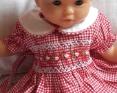 Dresses for 30 cm, doll clothes or doll smocked embroidered doll