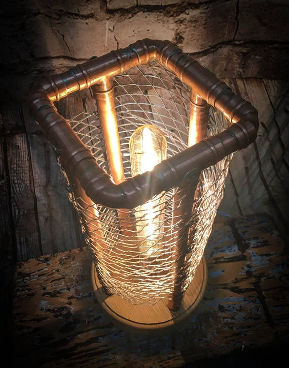 Industrial style copper cage lamp