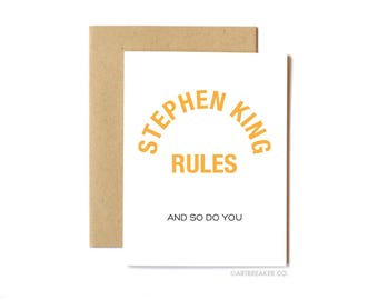 Stephen King Rules Card, Funny Anytime Card, Birthday Card, Friend, Horror, 80s, The Monster Squad