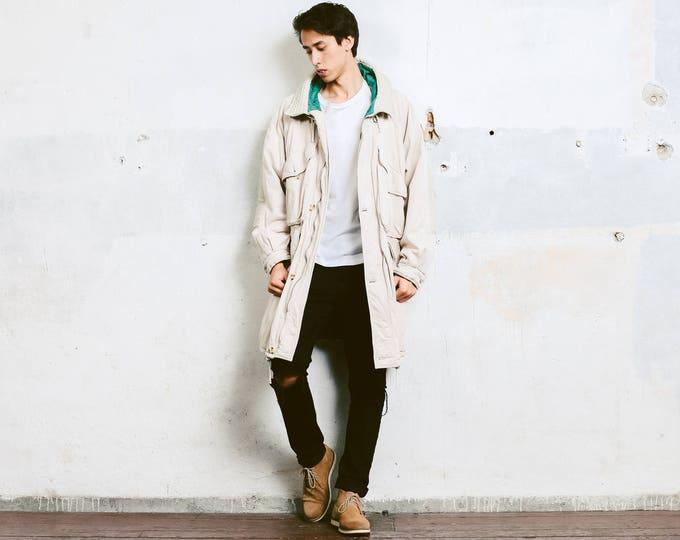 Men Beige Autumn Jacket . Vintage Long Beige Jacket Oversized Coat Hooded Winter Jacket Outerwear 1980s Boyfriend Gift . size Large L