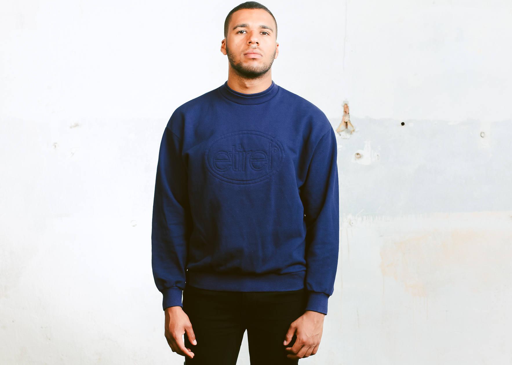 90s Etirel Sweatshirt Vintage Blue Sweater Men Retro Hipster Baggy Mens Clothes Boyfriend Gift Size Large
