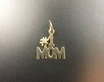 14K yellow gold mom pendant with diamond