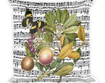 Antique Collage Style Butterfly, Fruit and Sheet Music Square Pillow 18x18in