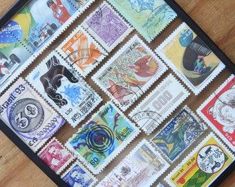 Framed stamp Brazil stamp wall art - Brazil art - handmade - Rio de Janeiro