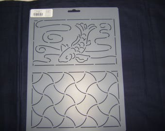 Sashiko Japanese Quilting/Embroidery Stencil 9 in. by 12 in. Koi and Anchors Motif Block/Quilting