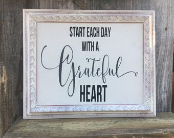 Start each day with a grateful heart,Framed quote,Inspirational saying,canvas print,framed sign saying,gallery wall art,farmhouse decor