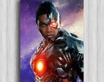 justice league cyborg print dc watercolor justice league decor cyborg art