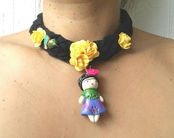 Braided mexican fabric embelished necklass