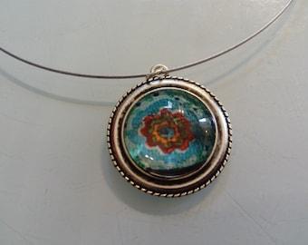 ethnic turquoise pendant
