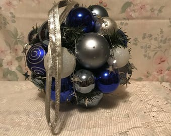 Blue and Silver Hanging Christmas Ball Decoration