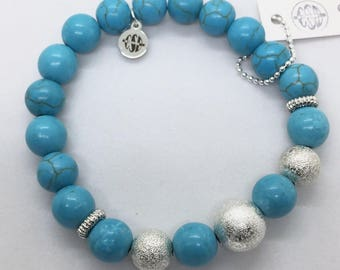 Turquoise Beads Bracelet, December Birthstone, Turquoise jewelry, Southwestern Jewelry, Boho Bracelet, Healing Bracelet, Rodeo,Beach,unisex