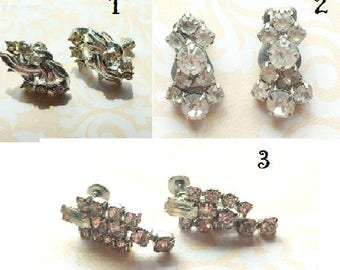 Vintage Rhinestone Earrings- Choice of 3 Designs