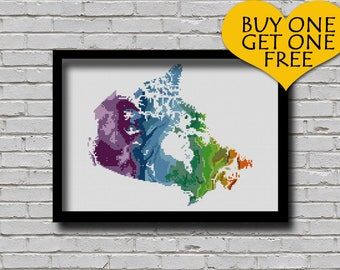 Cross Stitch Pattern Canada Map Watercolor Painting Effect Embroidery Modern Ornament Country Xstitch Travel Map Continent Pattern