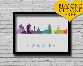 Cross Stitch Pattern Cardiff Walse Europe City Silhouette Watercolor Painting Effect Decor Embroidery Rainbow Color Skyline xstitch