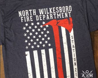 Fire station shirt etsy for Custom fire t shirts