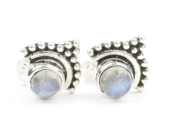 Maputo Earrings, Sterling Silver Moonstone Earrings, Boho, Moonstone Stud Earrings, Gypsy, Ethnic Earrings