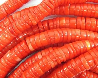 "6-7mm orange coral heishi beads 15.5"" strand 34550"