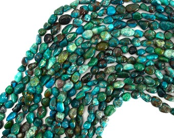 "6-8mm chrysocolla nugget beads 15.5"" strand 39353"