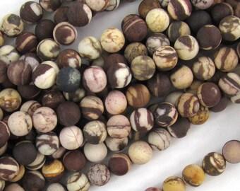 "6mm matte brown zebra jasper round beads 15"" strand 38021"