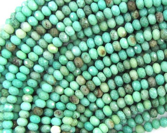 "4mm faceted green chrysoprase rondelle beads 15.5"" strand 33228"