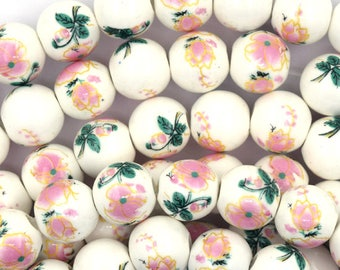 "12mm flower porcelain round beads 13.5"" strand pink 36915"