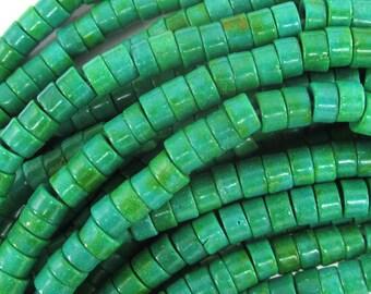 "4mm green magnesite turquoise heishi beads 16"" strand 34658"