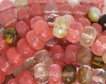 """10mm faceted pink tiger quartz rondelle beads 15"""" strand 35789"""