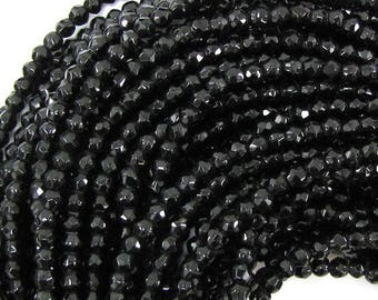 """3mm faceted black onyx round beads 15"""" strand 31025"""
