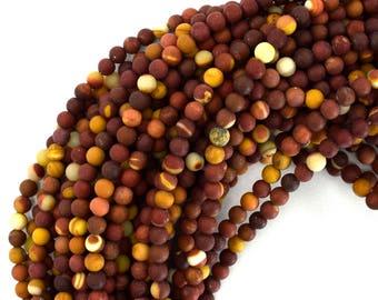 """4mm matte mookaite round beads 15"""" strand mookite 39176"""