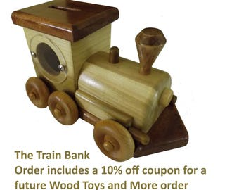Wooden Train Coin Bank,Large Coin Bank,Child Train Bank,Gift for New baby or Child's Birthday
