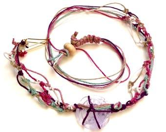 Glass Rose Pastel Hemp Necklace