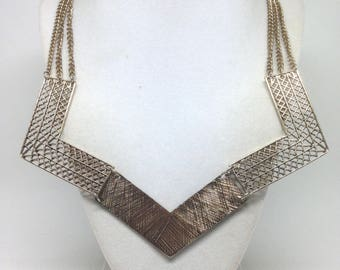 Vintage Estate Triple Strand V Shape Gold Tone Necklace