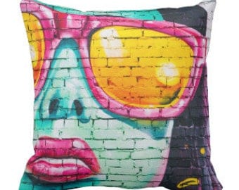 "Throw Pillow ""Pink Sunglasses"""