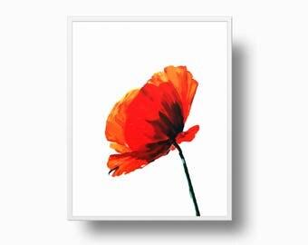 Red Flower Print, Poppy Modern Wall Art, Minimalist Red Flower, Flower Printable, Flower Wall Decor, Botanical Print, Flower Poster