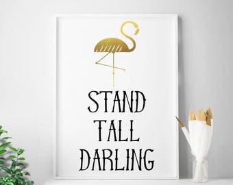 Flamingo, Gold, Nursery, Bedroom, Baby Shower, Girl's Birthday Gifts, Prints, Decor, Wall Art, Digital Print, Printable Art, Poster, Artwork