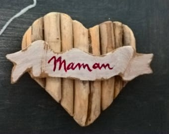 """Wooden magnet Driftwood sign"" MOM """