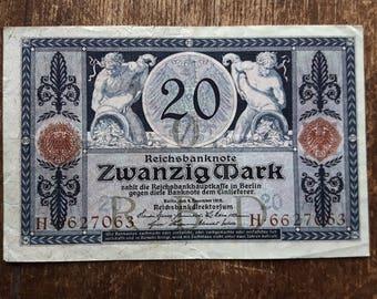 Old Germany Zwanzig 20 Mark Banknote 1915,Old German Banknote 20 mark