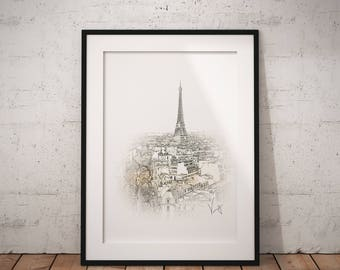Eiffel Tower Wall Art Print Printable French Decor Paris France Home Office Decor Modern Art Poster Print (i6A) Instant Download